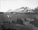Left-hand portion of panorama of Tattoosh Range viewed from Camp of the Clouds, Mount Rainier,...