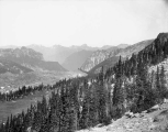 Looking northwest down the Carbon Glacier and Carbon River Canyon, from Moraine Park, July 19, 1897
