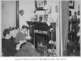 A.C. and Edith Warner inside their home, probably in Seattle, May, 1890
