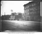 1st Ave. looking north from near Pine St., Seattle, probably before the second phase of the Denny...