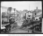 Jefferson St. looking northeast from 2nd Ave. and Yesler Way showing the Court House and City...