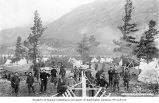 Klondikers in temporary camp, building boats, Lake Lindeman, Chilkoot Trail, ca. 1899