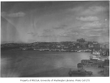 Elliott Bay looking northeast toward the Seattle waterfront with the Denny Hotel and Denny Hill in...
