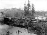 Old military bridge across Whatcom Creek , Bellingham, Washington, ca. 1904