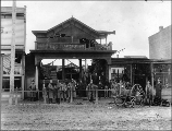 Fire department at the scene of a fire at Fred's Place, Kent, Washington, ca. 1900