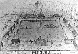 Fort Colville, drawing of buildings and grounds, Washington, 1867
