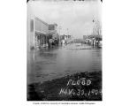 Flooded street from Nooksack River, Sumas, November 30, 1909