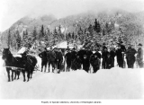 Members of the SOYP club with snowshoes and horse drawn sled with supplies, Mt. Rainier National...