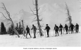 Members of the SOYP club cross country skiing, Mt. Rainier National Park, ca. 1928