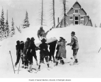Members of the SOYP club and George Hall in blanket toss, Mt. Rainier National Park, 1925