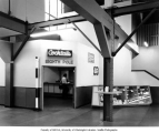 Interior of original grandstand showing  the Eighth Pole bar in northwest corner, Longacres Park,...