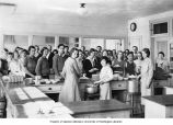Bainbridge High School students working in the cafeteria,  n.d.