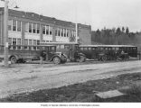 Buses outside of school, Redmond, n.d.