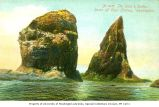 Rocks off of Cape Flattery known as the Knot and Spike Rocks, 1907