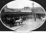 People gathered at Pullman train station, September 1908