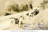 Pack horses and people on trail to Olympic Hot Springs, n.d.