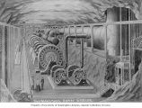 Drawing of subterranean power station diagram of Snoqualmie Falls Power Company, Snoqualmie,...