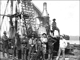 Pile driving in the City Waterway, Tacoma, Washington, ca. 1889