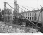 Construction progress on Legislative Building showing scaffolding, Washington State Capitol group,...