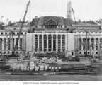 Construction progress on Legislative Building, main facade, Washington State Capitol group,...