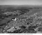 Aerial view of Washington State Capitol Group and surrounding city before work began on Capitol...