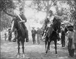 Indian Agent Captain Thomas Priestley and Yakima Chief White Swan on horseback, Fort Simcoe,...