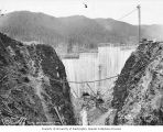 Construction of Cushman Dam from downstream side, Lake Cushman Dam Project, Tacoma Municipal Power...