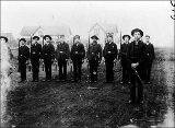 Military recruits drilling, Port Townsend, Washington, ca. 1890