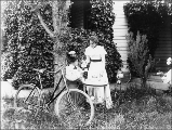Two women with bicycle, Hoquiam, Washington, ca. 1900