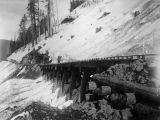 Northern Pacific Railway trestle in the snow, Washington, ca. 1887