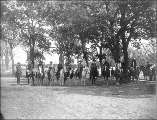 Priestly family and other employees on horseback, Fort Simcoe, Washington, ca. 1888 or 1889