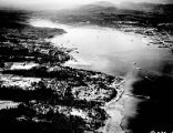 Aerial view of Port Orchard towards the Sinclair Inlet, circa 1950- circa 1960s