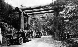 Auto stages, or tour buses, at the Nisqually entrance gate, Mount Rainier National Park,...