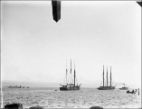 Sailing vessels departing Grays Harbor with cargo of lumber, Washington, ca. 1895