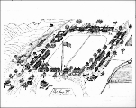 Fort Simcoe, drawing of buildings and grounds, Washington, 1858