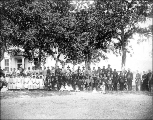 Children and employees in front of the Yakima Indian Agency school, Fort Simcoe, Washington, ca....