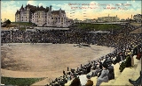 Stadium High School showing crowd gathered for a speech in the Stadium Bowl, Tacoma, ca. 1911