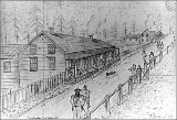 Fort Colville, drawing of headquarters, Washington, ca. 1867
