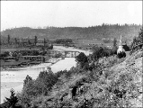 Zion Lutheran Church on hillside with bridge over Stillaguamish River in the background, Silvana,...