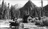 Automobile at Snoqualmie Pass summit, Washington, ca. 1913