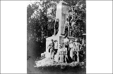 Excursion party visiting the International Boundary Monument, Point Roberts, Washington, ca. 1900