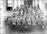 Group portrait of members of a fraternal organization, possibly the Independent Order of Odd...