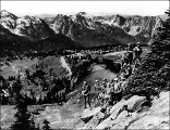 Mountaineers at Alta Vista Point overlooking the Tatoosh Mountains, Mount Rainier National Park,...