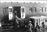 Railway car transporting wounded, Camp Lewis, Washington, ca.1918