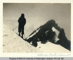Skier at the summit of Glacier Peak, n.d.