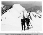 Two skiers on Black Buttes spur near Mt. Baker summit saddle, n.d.