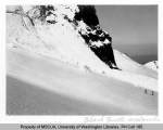 Two skiers near avalanche site on Black Buttes, n.d.