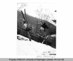 Two cross country skiers navigating a log on Phelps Creek, n.d.