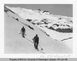 Two skiers on Old Desolate with the Carbon Glacier in background, n.d.