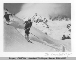 Two downhill skiers at Alta Vista in Paradise Park, south slope of Mt. Rainier, n.d.